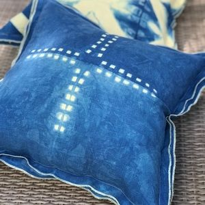 Pottery Barn pillow case hand dyed in indigo by me